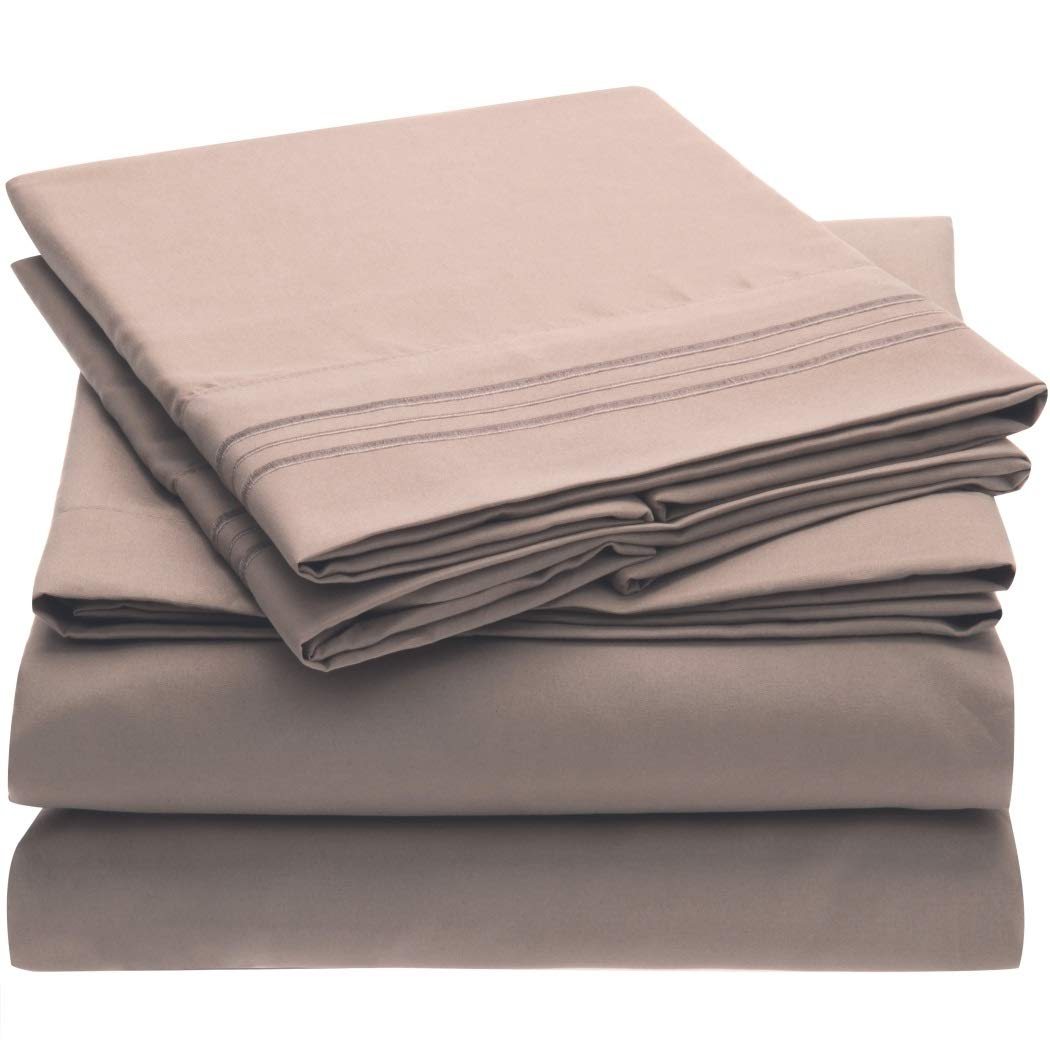 Mellanni 3pcs Bed Sheet Set Brushed Microfiber 1800 Bedding - Wrinkle, Fade, Stain Resistant - Hypoallergenic - 3 Piece - 1 Fitted Sheet and 2 Pillowcases (Queen, Tan)