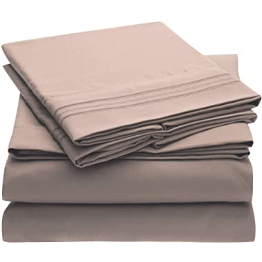 Mellanni Bed Sheet Set Brushed Microfiber 1800 Bedding - Wrinkle, Fade, Stain Resistant - Hypoallergenic - 4 Piece (King, Tan)