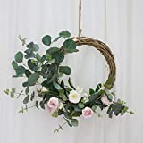 Heayoup Pretty Simulate Wreath Garland Floriation Hanging Pendant Decoration for Festival Wedding Party-40 Pink 38cm