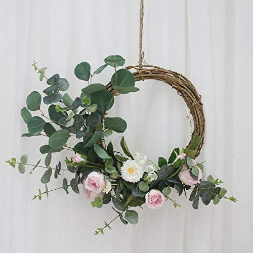 Heayoup Pretty Simulate Wreath Garland Floriation Hanging Pendant Decoration for Festival Wedding Party-40 Pink 38cm by Heayoup