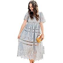 Chicwish Women's Grey/Navy/White Short Sleeves Round Neckline Lace Crochet Eyelet Midi Dress