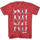Mad Engine Fortnite Dance Dance Boys Short Sleeve T-Shirt (Heather Red,Medium)