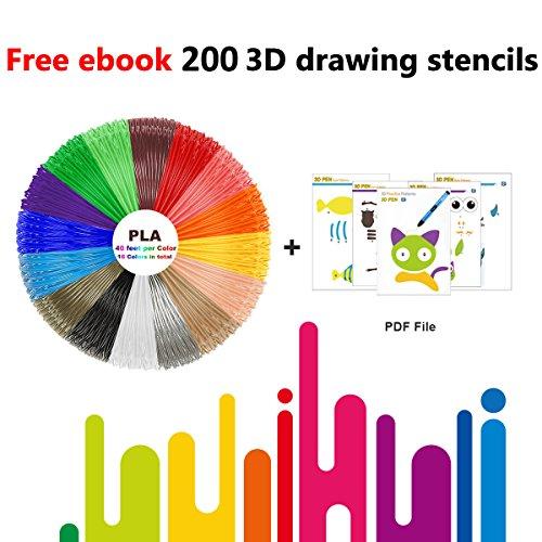 3D Pen Filament Refills PLA 16 Colors 40 Feet 1.75mm with 200 Stencils eBook Total 640 Feet 3D Art Pen Filament for TIPEYE, Canbor, MYNT3D, DigiHero, Zerofire, Dikale, BeTIM 3D Printing Pen and etc by TIPEYE (Image #2)