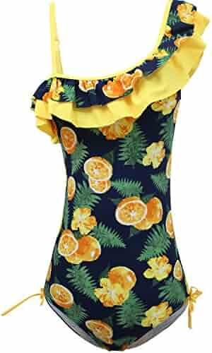 566b82ac32 KALAWALK Girls Lemon Double Ruffle One Shoulder Adjustable Swimwear  Fashionable One Piece Bathing Suit(5y