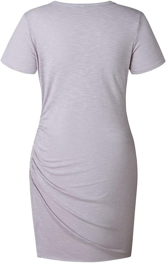 Paixpays Womens Casual Bodycon Dresses Short Sleeve Pencil Mini T Shirt Dress