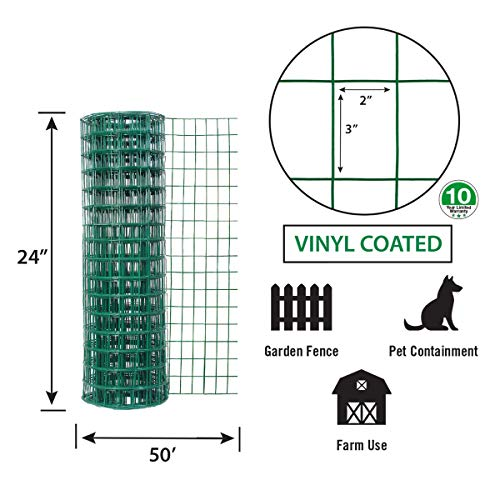 Garden Zone 24 Inches X 50 Feet 16 Gauge Green Vinyl