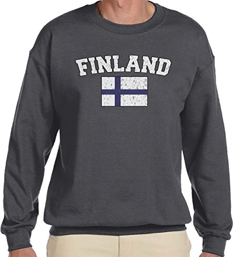 Amdesco Men's Finnish Finn Flag, Home Flag of Finland Crewneck Sweatshirt, Charcoal Grey 2XL (Finnish Coat Of Arms)