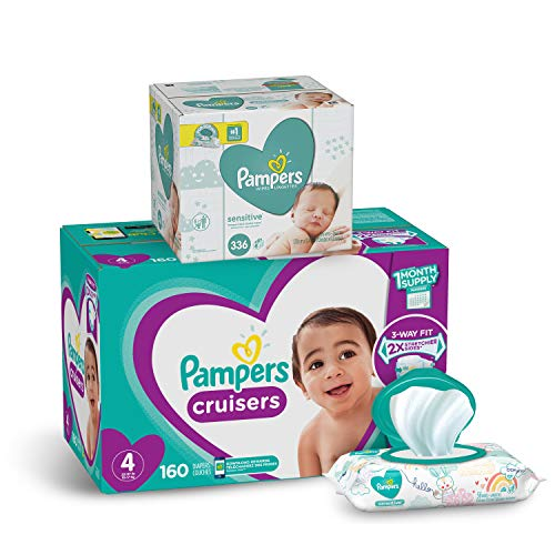 Pampers Cruisers Disposable Baby Diapers Size 4, 160 Count and Baby Wipes Sensitive  Pop-Top Packs, 336 Count