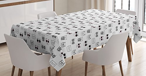 Ambesonne Cat Tablecloth, Cool Hipster Cat Portraits with Sunglasses Funny Faces Humor Characters Doodle, Dining Room Kitchen Rectangular Table Cover, 52 W X 70 L Inches, White Black -