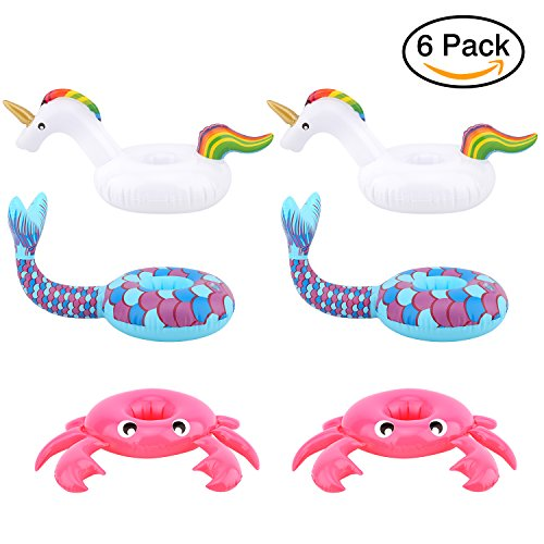 Price comparison product image [6 Pack] Drink Holders, HeySplash Inflatable Beverage Floats Cup Coasters for Swimming Pool Party and Water Fun - Pink Crab, White Unicorn and Blue Mermaid