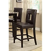 Set of 4 Bar Stools Counter Height Dark Brown Leather Parson Chairs