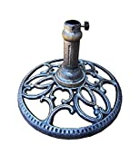 "CC Outdoor Living 18"" Round Antique Pewter Finished Filigree Designed Cast Iron Patio Umbrella Stand"