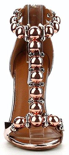 Cr Alza-40 Open Toe T Strap Stiletto Tacco Alto Lucido Pompa A Specchio Scarpa Metallico Oro Rosa Oro Rosa