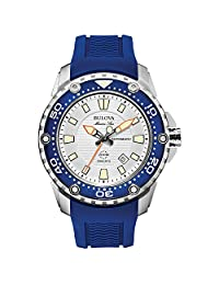 Bulova Marine Star Men's Automatic Watch with Silver Dial Analogue Display and Blue Rubber Strap - 98B208