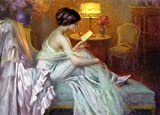 Real Hand Painted Beautiful Young Women Reading a Love Letter in Evening Dress Canvas Oil Painting for Home Wall Art Decoration, Not a Print/ Giclee/ Poster