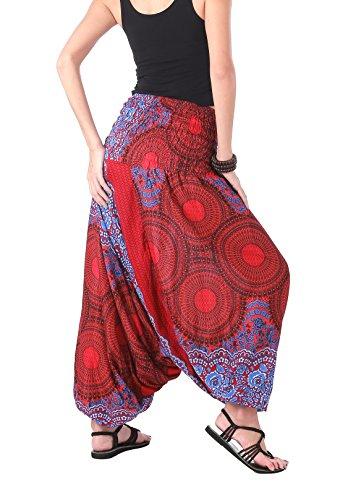 CandyHusky - Pantalón - para mujer Floral Mandala Red