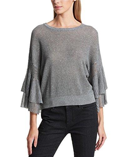 Cotton Metallic Sweater - DKNY Semi-Sheer Ruffled Metallic Sweater (Silver, M)