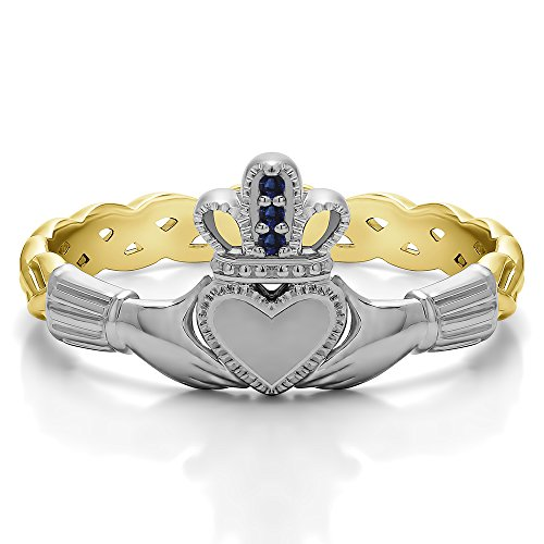 (10k Two Tone Gold Sapphire .02 CT Sapphire Celtic Claddagh Ring (Size 3 To 15 1/4 Size Interval))