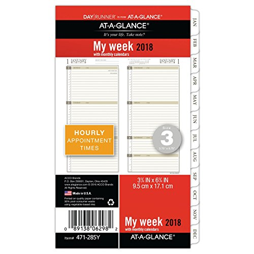 "AT-A-GLANCE Day Runner Weekly / Monthly Planner Refill, January 2018 - December 2018, 3-3/4"" x 6-3/4"", Loose Leaf, Size 3, (471-285Y)"