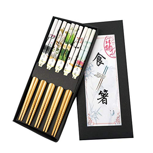 - Chopsticks 5 Pairs Chinese Reusable Bamboo Chopsticks Chinese Painting Style Gift Set with Box Dishwasher Safe Chop sticks