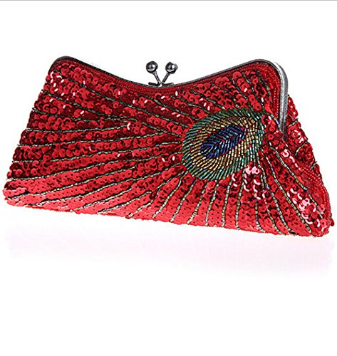 Peacock Beaded Purse Women Bags Evening Shining Vintage Red Party Red Sequin Clutch xIqBHq