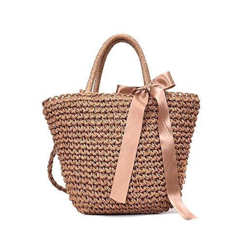 Bolso De Las Señoras/Playa/Compras/Día De Fiesta/Straw Bag Bow Black/Brown,Beige