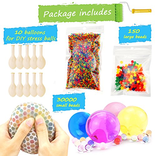 Water Beads Pack (30000 Small water beads /150 Large Jumbo water beads/10 Balloons) Mixed Jelly Beads Water Gel Balls,Sensory Toys and Decoration - Jumbo Ball Beads