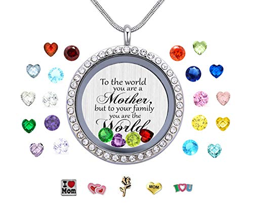 Vinncy to The World You are a Mother. Floating Memory Living Charms Lockets, Love Mother DIY Stainless Steel Pendant Necklace, Best - Origami 80