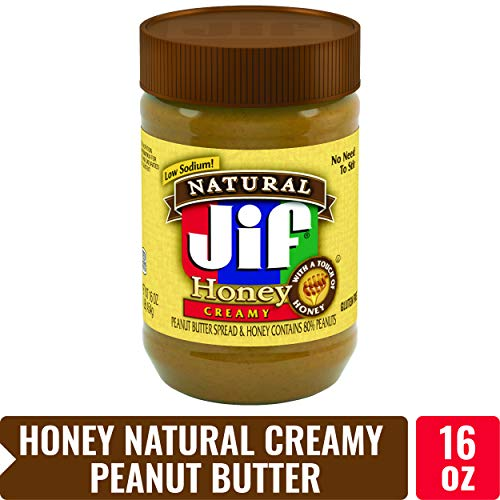 Jif Natural Creamy Peanut Butter Spread with Honey, 16 oz. - 7g (7% DV) of Protein per Serving, Smooth, Creamy Texture - No Stir Natural Peanut Butter