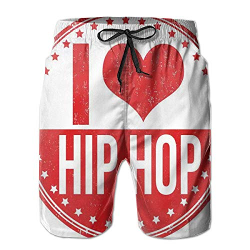 Men Swim Trunks Beach Shorts,I Love Hip Hop Phrase On A Circular Grungy Background with Star Shapes XXL