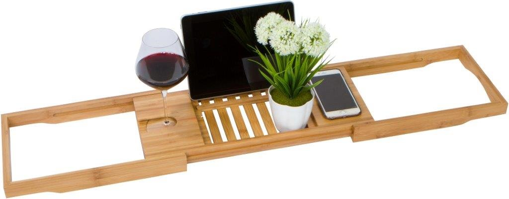 28 Adjustable Bamboo Bath Tub Caddy and Organizer Tray by Trademark Innovations BAMB-TUBCADDY