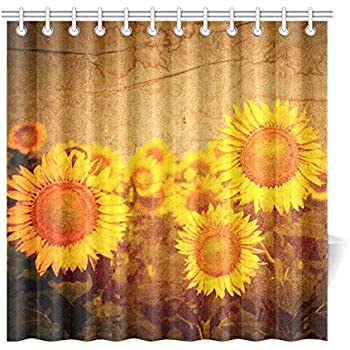 InterestPrint Vintage Sunflowers Artworks Polyester Fabric Shower Curtain Bathroom  Sets Home Decor 72 X 72 Inches