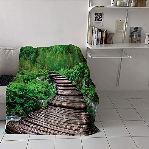 Khaki home Children's Blanket Throw/Travel Plush Throw Blanket (60 by 80 Inch,Forest,Pathway in Pond Over The Lake Natural Organic Life Rainforests into The Wild Photo,Brown Green ()