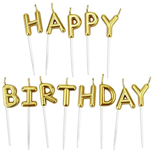 Chic Happy Birthday Metallic Letter Candle Cake Topper, GOLD -