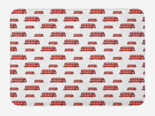 Weeosazg London Bath Mat, Funny Cute Kids Boys Toy Double Decker Bus Transportation Cartoon, Plush Bathroom Decor Mat with Non Slip Backing, 23.6 W X 15.7W Inches, Vermilion Pale Blue -