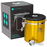 coffee bean bin - Coffee Gator Stainless Steel Container - Canister with co2 Valve, Scoop and eBook - Medium, Gold