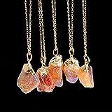Fashion Unisex Irregular Necklace Natural Crystal Quartz Stone Gemstone Pendant#by pimchanok shop (@9)