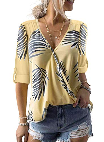 Dokotoo Womens Autumn Fashion Ladies Casual V Neck Long Sleeve Loose Palm Tree Leaf Print Plain Casual Tops and Blouse Tunic Henley Shirts Yellow Medium
