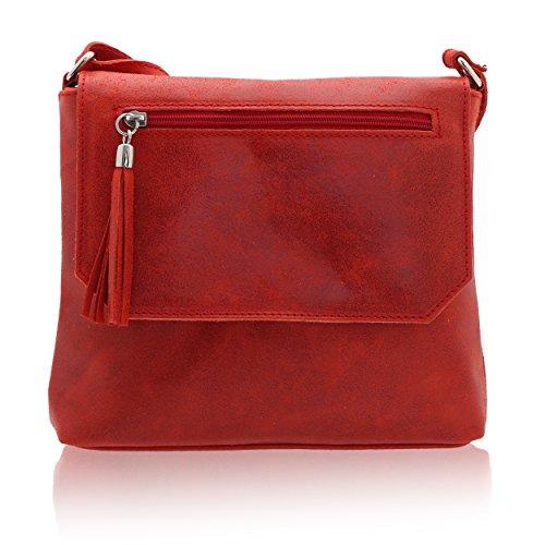 Cuero 7 En Rojo In Italy Hombro De Chicca 24 Bolsa Cm Made Genuino Borse 27 X Mujer Xa66nSY