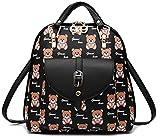 Yelesley Women's Summer Cute PU Leather Student Bag Backpack Shoulder Bag(black bear)