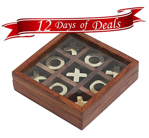 1-Tic-Tac-Toe-12-DAYS-of-DEALS-SALE-on-SouvNear-Tick-Tack-Toe-Wooden-Family-Board-Game-Metal-Noughts-Crosses-Storage-Box-with-Glass-Lid-Unique-TableDeskFloorIndoorOutdoor-Game