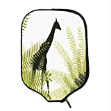 YOLIYANA Africa Durable Racket Cover,Silhouette of Giraffe Ferns National Park Terrestrial Tall Animal Print Decorative for Sandbeach,One Size