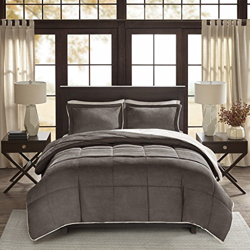 Madison Park Jackson Corduroy Reverse to Berber Comforter Mini Set, Full/ Queen, Grey