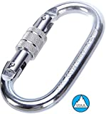 O-Shaped Steel Climbing Carabiner(25kn=5600lb) Screw Lock Spring Gate,CE UIAA Rated Heavy Duty Carabiners for Rock Climbing Rappelling...