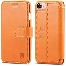 iPhone 8 Case, iPhone 7 Case, SHIELDON Genuine Leather iPhone 7 Wallet Case [Card Slot] [Heavy Duty Protection] Magnetic Closure Protective Stand Flip Cover Case iPhone 8 / iPhone 7 - Brown