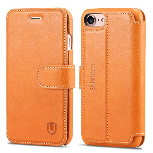 iPhone 8 Case, iPhone 7 Case, SHIELDON Genuine Leather iPhone 7 Wallet Case [Card Slot] [Heavy Duty Protection] Magnetic Closure Protective Stand Flip Cover Case for Apple iPhone 8/iPhone 7 - Brown Leather Wallet Carrying Case