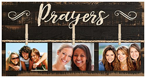 P. Graham Dunn Prayers Script Black 11 x 20 Inch Solid Pine Wood Clothesline Clipboard Photo and Momento Display