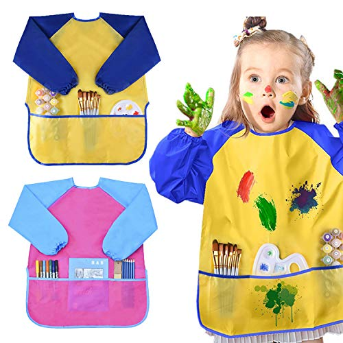 BOSONER Kids Art Aprons Children Art Smock with Waterproof Artist Painting Aprons Long Sleeve with 3 Pockets for Age 2-6 Years (2 Pack) (Yellow+Pink)