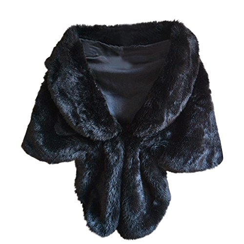 Women's Faux Fur Shawl and Wraps for Evening Wedding Dresses, Qisc Bridal Fur Stole Scarves (58.2613'', Black) by Qisc
