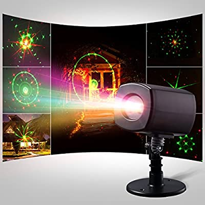 Kivis Projector Laser Lights Moving Galaxy Show Spotlights Outdoor Decorations for Party, Holiday, Birthday, Stage Light (Red-Green)